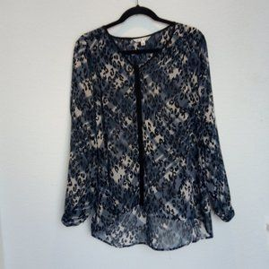 Cabi Sheer Blue Black Long Sleeve Button Front Top